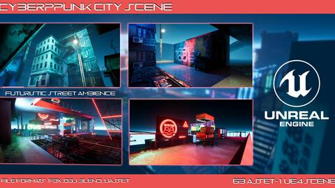 Cyberpunk City Scene (UE4 PACK)