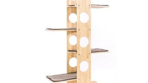 shaped wooden cat towers