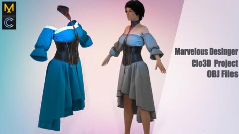 Fantasy dress / Marvelous Desinger/Clo3D Project+OBJ File