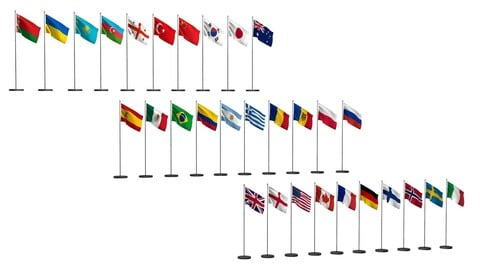 Flags of different countries 30 items