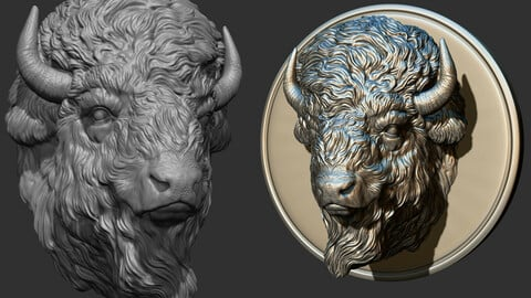 Bison head for pendant