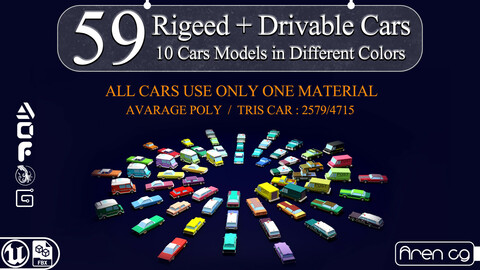 59 rigged and drivable Lowpoly cars VR / AR / low-poly 3d model
