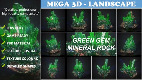 Low Poly Green Gem Mineral Rock 210829