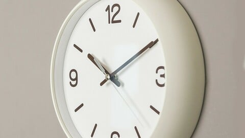 White Dome Round Noiseless Wall Clock