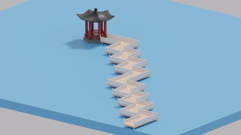 Cartoon Chinese Nine-turn bridge and Pavilion 3D model