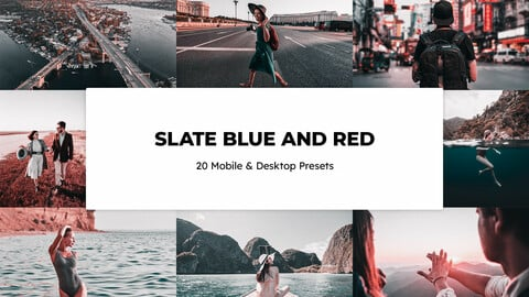 20 Slate Blue and Red LUTs and Lightroom Presets