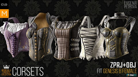 5 corsets. Clo3d, MD projects + OBJ. Medieval and Fantasy collection