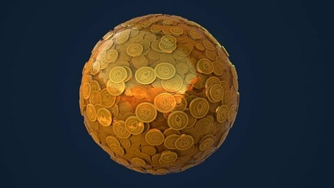 Cryptocurrency Coins Stylized PBR Texture