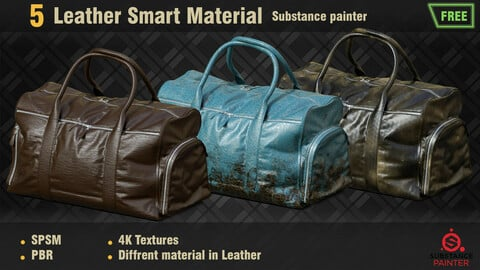 5 Free Leather Smart Materials PBR SPSM