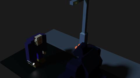 monster on road 3d blender project