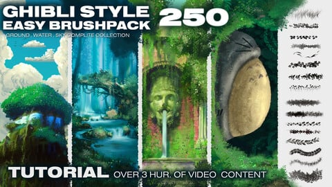 250 -GHIBLI STYLE EASY  BRUSH-PACK and how to use it (TUTORIAL)  [GROUND, WATER , SKY] -BUNDLE-