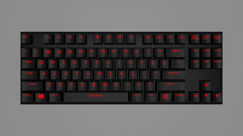 TKL Gaming Keyboard with red lights 3D model