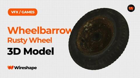 Wheelbarrow Rusty Wheel Raw Scanned 3D Model
