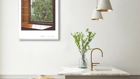 Home Cafe Nordic Living Room Interior Framed Poster
