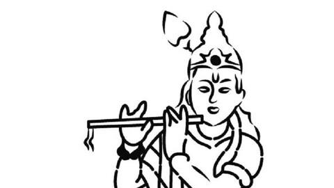 Hindu Lord Krishna Vector Art