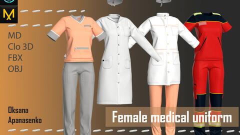 Female medical uniform. Clo 3D/MD project + OBJ, FBX files