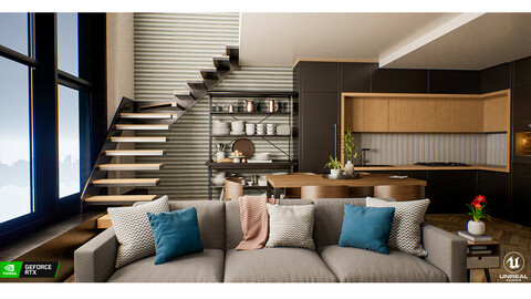 Modern Lobby Interior - UE4 | FBX | MAX