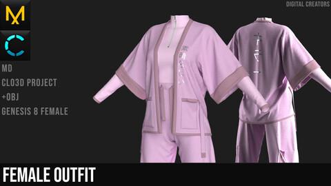 Female Outfit. Clo 3D / Marvelous Designer project +obj
