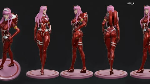 Zero Two From Darling In the FranXx 3D model