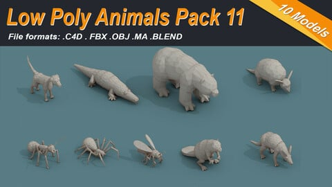 Low Poly 3d Art Animals Isometric Icon Pack 11