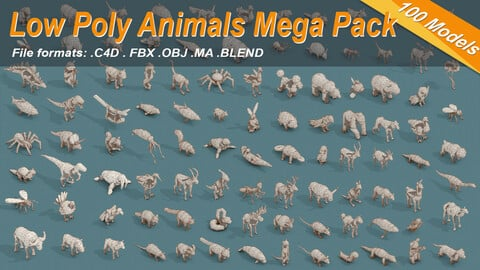Low Poly 3d Art 100 Animals Isometric Icon Mega Pack