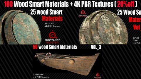 100 Wood Smart Materials + 4K PBR Textures ( 20%off )