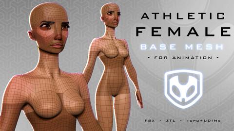 Athletic Female Base Mesh for Animation