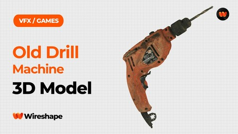 Old Drill Machine Raw Scanned 3D Model