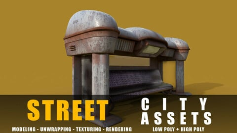 bus stop old game ready street assets low poly and high poly