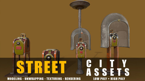 Phone Station series old game ready street assets low poly and high poly