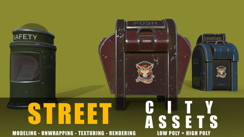 trash can series old game ready street assets low poly and high poly