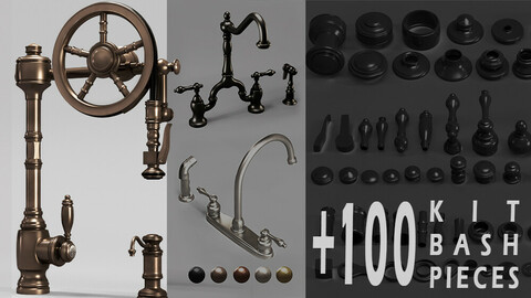 6 Waterstone and Kingston faucets+100KitBash_Vol 01