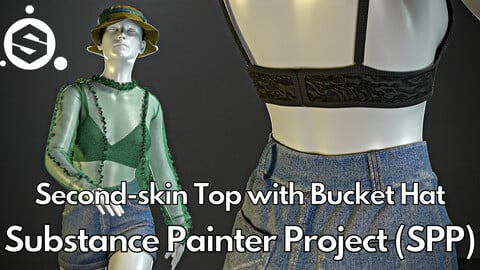 Substance Painter (.SPP) : Second-skin top with bucket hat