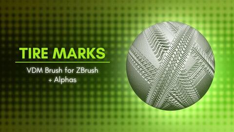 Wheel Tracks, Tire Trace Marks VDM Brush for ZBrush 2021