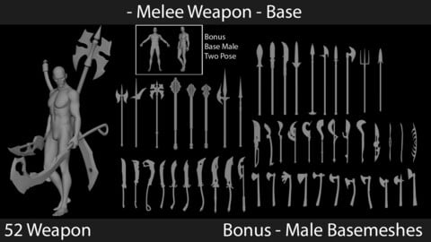 Melee Weapons - Base Meshes