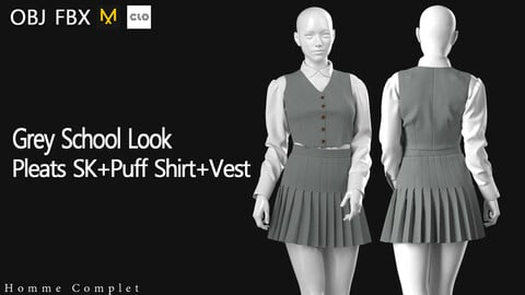 Women's Grey Pleats Skirt School Look