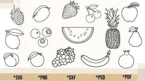Fruits Outline Bundle SVG, Fruits Bundle Cricut Cut File, Fruits Bundle PNG Printable, pdf, dxf, Fruits Bundle Digital Download