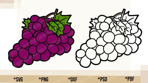 Grapes SVG, Cricut Cut File, Grapes PNG Printable, pdf, dxf, Grapes Digital Download