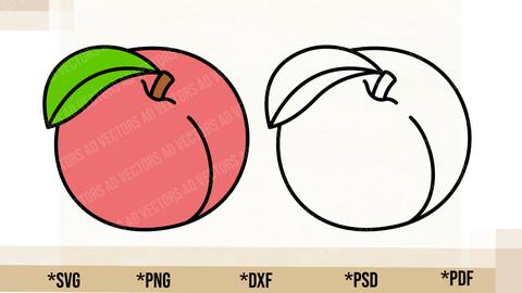 Peach SVG, Peach Cricut Cut File, Peach PNG Printable, pdf, dxf, Peach Digital Download
