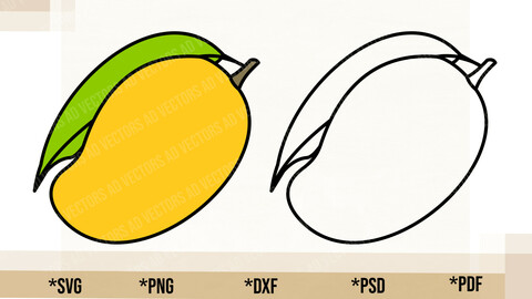 Mango SVG, Mango Cricut Cut File, Mango PNG Printable, pdf, dxf, Mango Digital Download