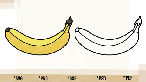 Banana SVG, Cricut Cut File, Banana PNG Printable, pdf, dxf, Banana Digital Download