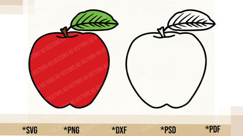 Apple SVG, Cricut Cut File, Apple PNG Printable, pdf, dxf, Apple Digital Download