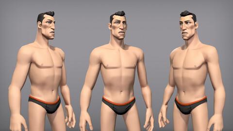Cartoon male character Kian base mesh