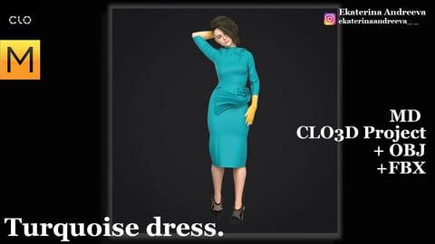 Turquoise dress.