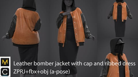 Leather bomber jacket with cap and ribbed dress / clo3d / marvelous designer