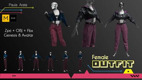 Female Outfit Marvelous Designer/Clo3d project + OBJ + FBX