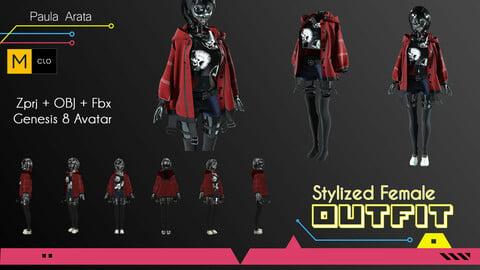 Female Stylized Outfit Marvelous Desinger/CLO3D Project+OBJ