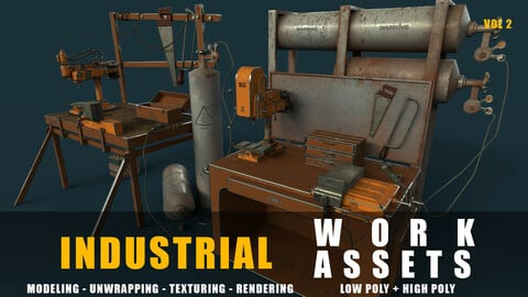 industrial work assets game ready low poly and high poly vol 2