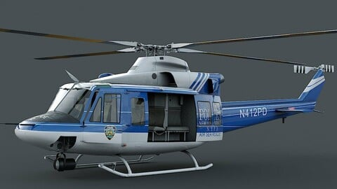 Bell-412 NYPD Detailed cockpit