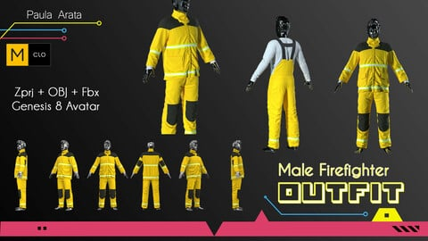 Male Firefighter Outfit CLO/Marvelous design